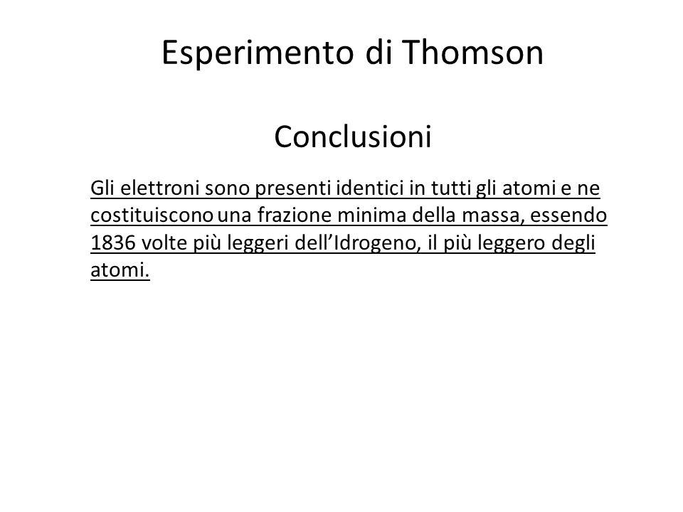 Esperimento di Thomson Conclusioni Gli elettroni sono presenti identici in tutti gli atomi e ne costituiscono una frazione minima della massa, essendo