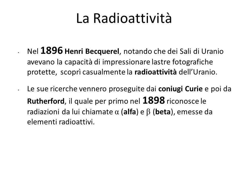 La Radioattività Nel 1896 Henri Becquerel, notando che dei Sali di Uranio avevano la capacità di impressionare lastre fotografiche protette, scoprì ca