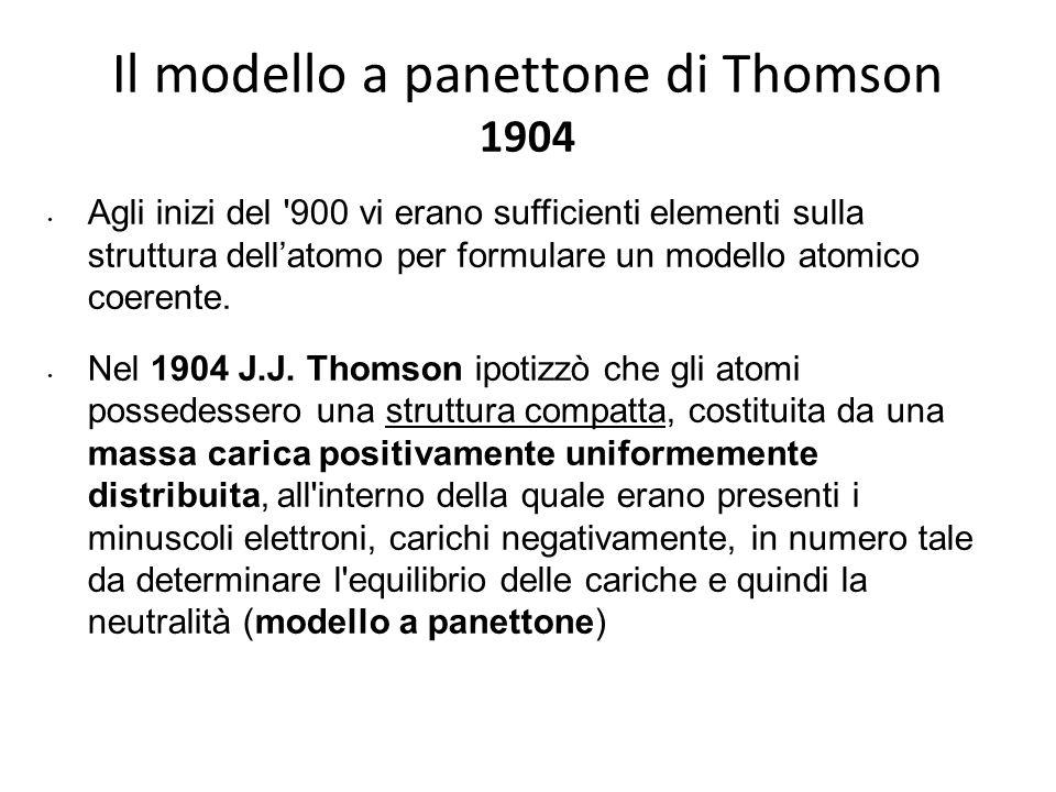 Il modello a panettone di Thomson 1904 Agli inizi del '900 vi erano sufficienti elementi sulla struttura dell'atomo per formulare un modello atomico c