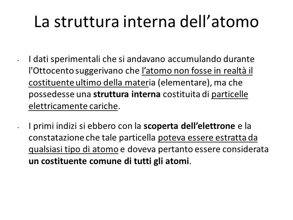 La struttura interna dell'atomo I dati sperimentali che si andavano accumulando durante l'Ottocento suggerivano che l'atomo non fosse in realtà il cos
