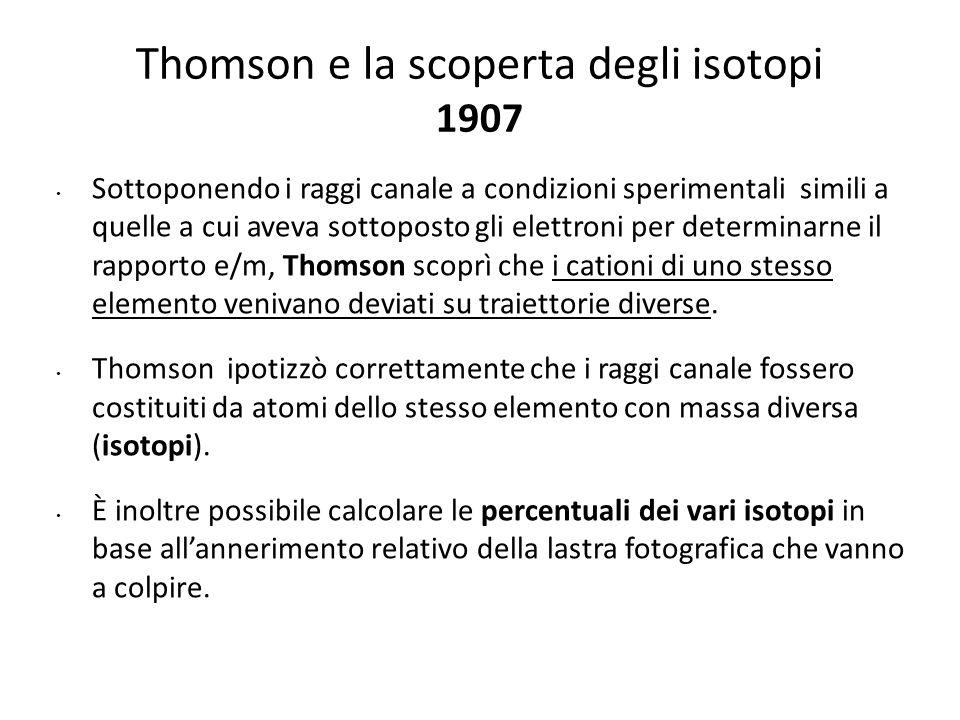 Thomson e la scoperta degli isotopi 1907 Sottoponendo i raggi canale a condizioni sperimentali simili a quelle a cui aveva sottoposto gli elettroni pe