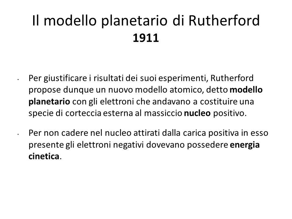 Il modello planetario di Rutherford 1911 Per giustificare i risultati dei suoi esperimenti, Rutherford propose dunque un nuovo modello atomico, detto