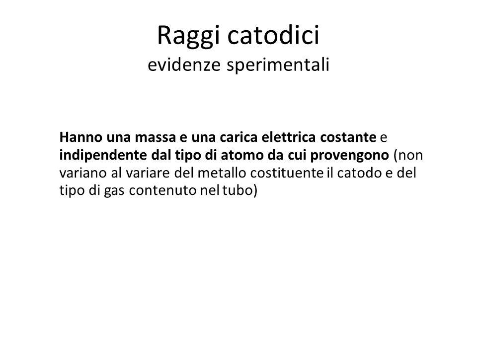 Raggi catodici evidenze sperimentali Hanno una massa e una carica elettrica costante e indipendente dal tipo di atomo da cui provengono (non variano a