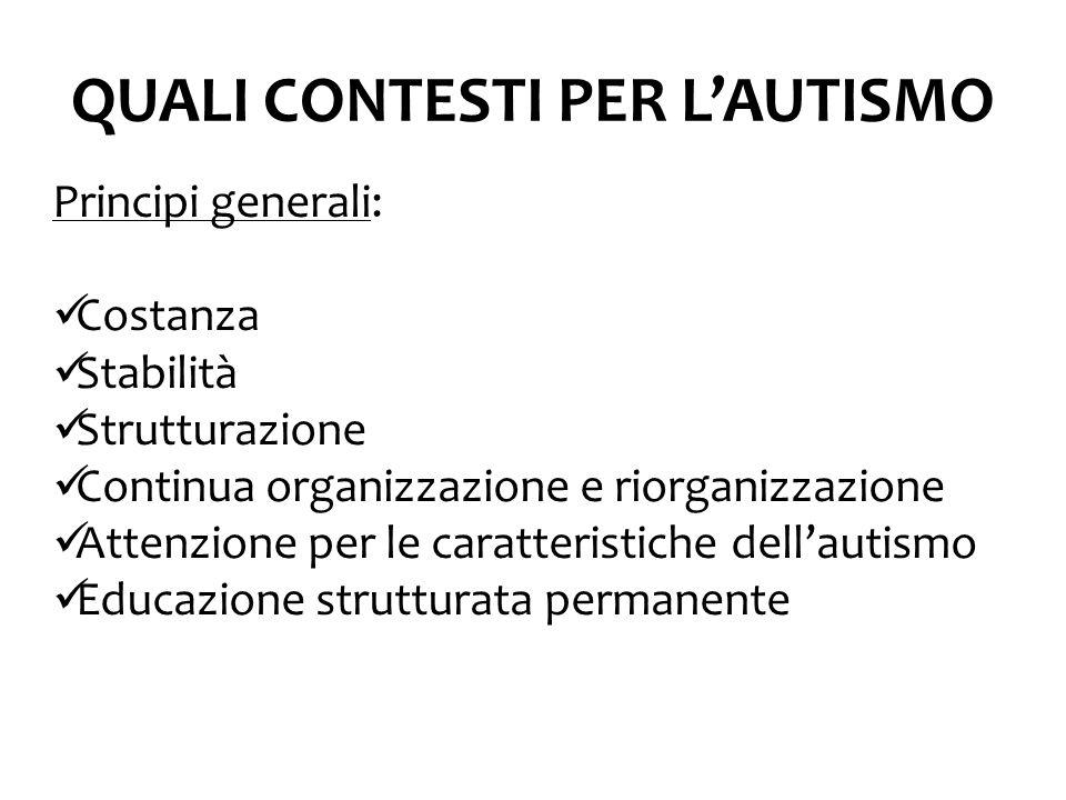QUALI CONTESTI PER L'AUTISMO Principi generali: Costanza Stabilità Strutturazione Continua organizzazione e riorganizzazione Attenzione per le caratteristiche dell'autismo Educazione strutturata permanente