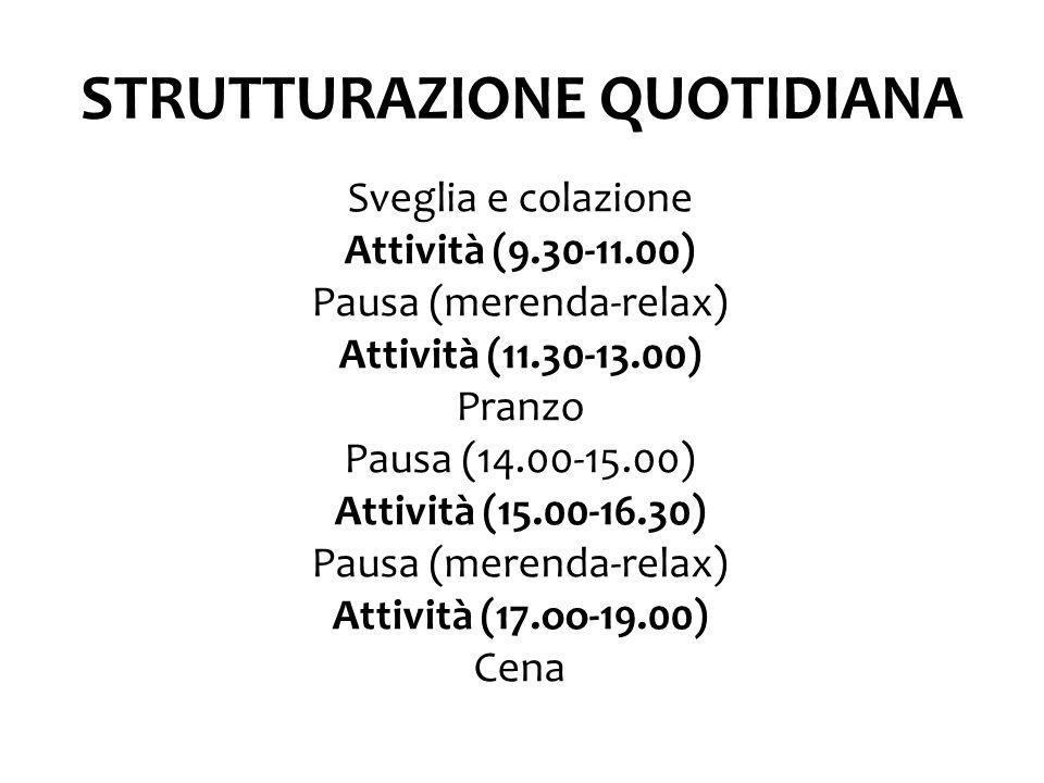 STRUTTURAZIONE QUOTIDIANA Sveglia e colazione Attività (9.30-11.00) Pausa (merenda-relax) Attività (11.30-13.00) Pranzo Pausa (14.00-15.00) Attività (15.00-16.30) Pausa (merenda-relax) Attività (17.oo-19.00) Cena