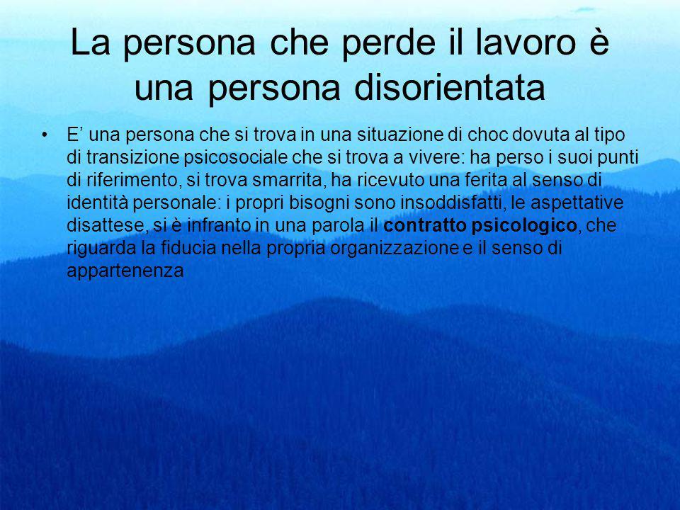 La persona che perde il lavoro è una persona disorientata E' una persona che si trova in una situazione di choc dovuta al tipo di transizione psicosoc