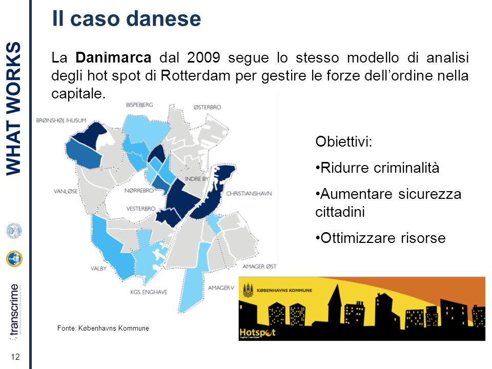 12 Il caso danese La Danimarca dal 2009 segue lo stesso modello di analisi degli hot spot di Rotterdam per gestire le forze dell'ordine nella capitale.