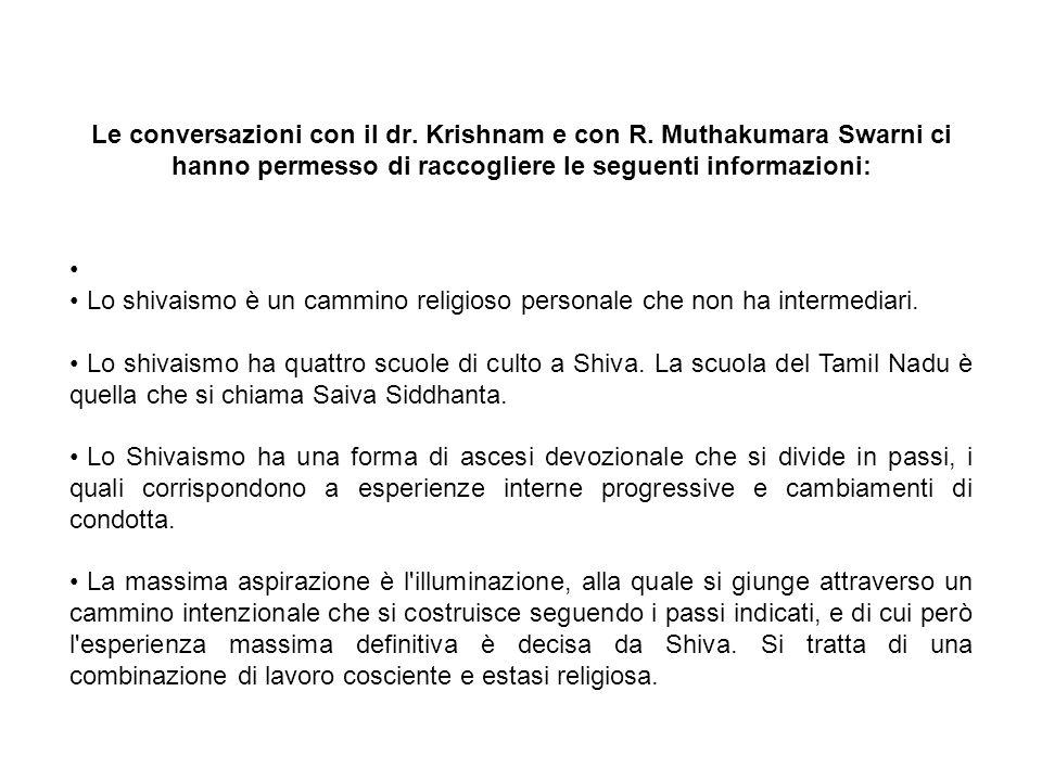 Le conversazioni con il dr. Krishnam e con R.