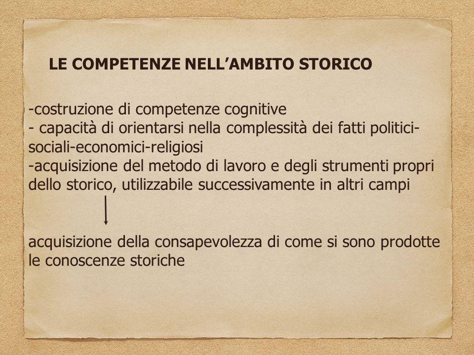 LE COMPETENZE NELL'AMBITO STORICO -costruzione di competenze cognitive - capacità di orientarsi nella complessità dei fatti politici- sociali-economic