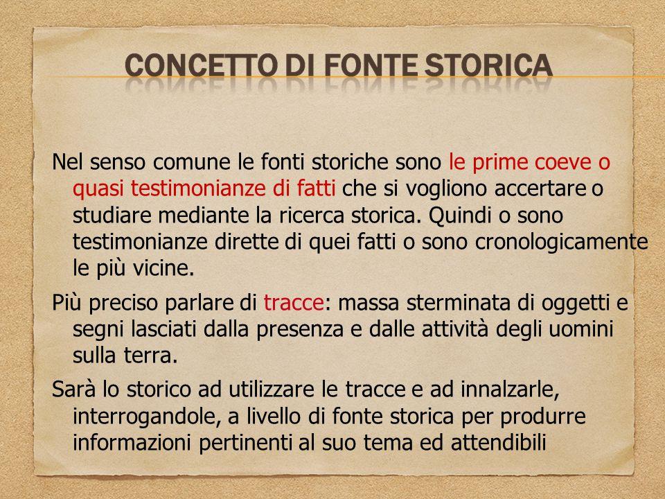 Nel senso comune le fonti storiche sono le prime coeve o quasi testimonianze di fatti che si vogliono accertare o studiare mediante la ricerca storica