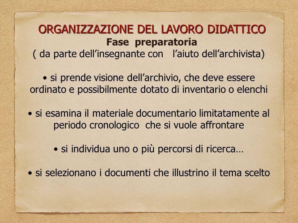 ORGANIZZAZIONE DEL LAVORO DIDATTICO Fase preparatoria ( da parte dell'insegnante con l'aiuto dell'archivista) si prende visione dell'archivio, che dev