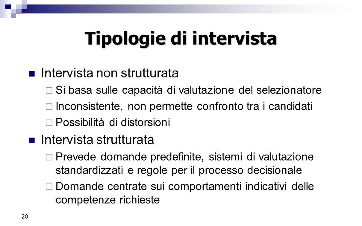 20 Tipologie di intervista Intervista non strutturata  Si basa sulle capacità di valutazione del selezionatore  Inconsistente, non permette confront