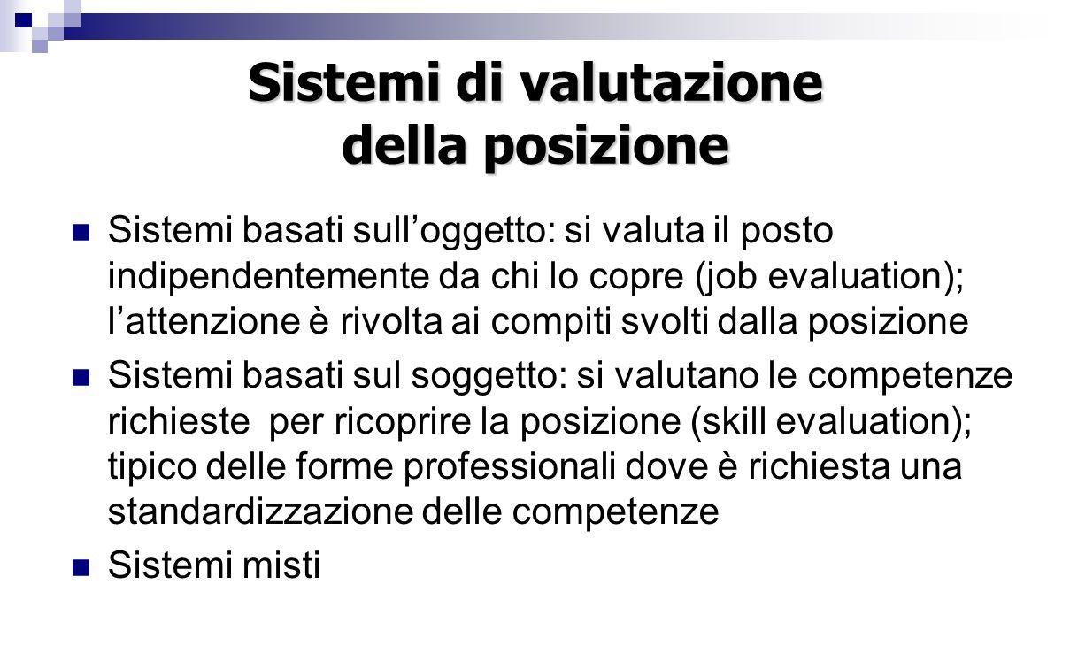 Sistemi di valutazione della posizione Sistemi basati sull'oggetto: si valuta il posto indipendentemente da chi lo copre (job evaluation); l'attenzion