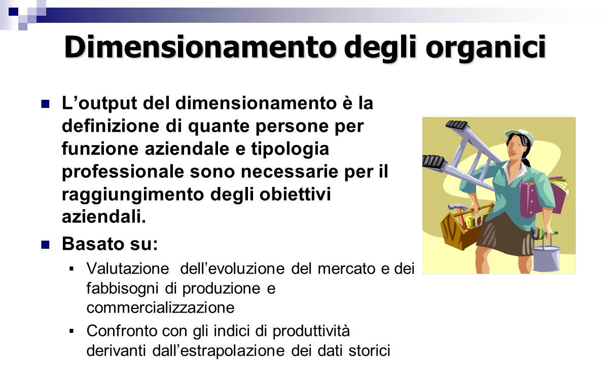 Dimensionamento degli organici L'output del dimensionamento è la definizione di quante persone per funzione aziendale e tipologia professionale sono necessarie per il raggiungimento degli obiettivi aziendali.