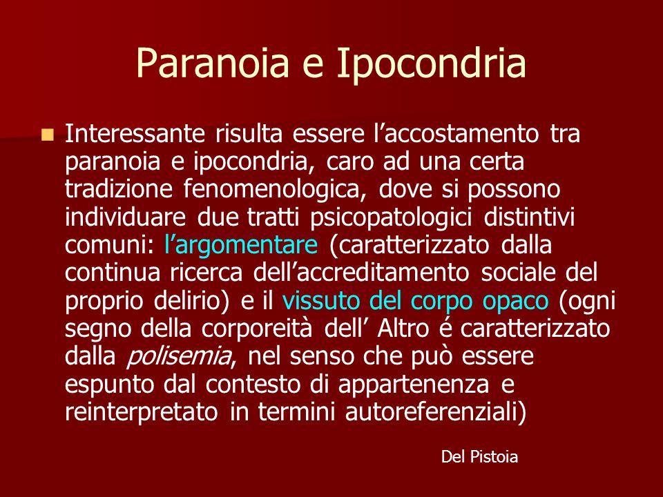 Paranoia e Ipocondria Interessante risulta essere l'accostamento tra paranoia e ipocondria, caro ad una certa tradizione fenomenologica, dove si possono individuare due tratti psicopatologici distintivi comuni: l'argomentare (caratterizzato dalla continua ricerca dell'accreditamento sociale del proprio delirio) e il vissuto del corpo opaco (ogni segno della corporeità dell' Altro é caratterizzato dalla polisemia, nel senso che può essere espunto dal contesto di appartenenza e reinterpretato in termini autoreferenziali) Del Pistoia