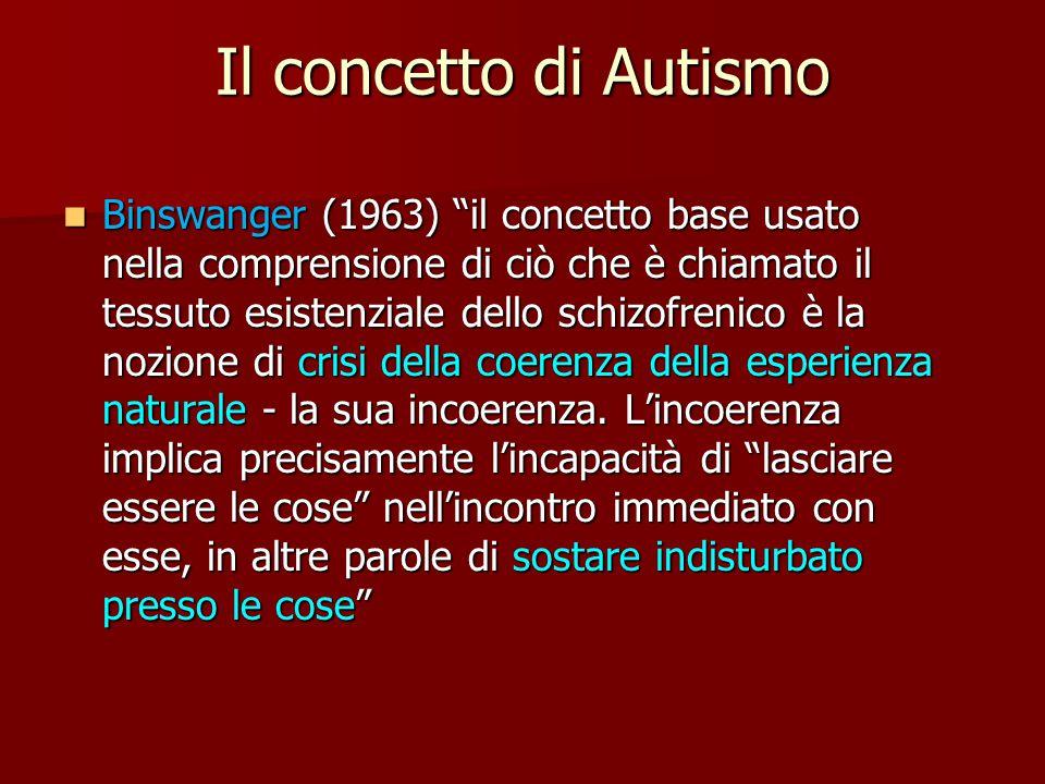 Il concetto di Autismo Binswanger (1963) il concetto base usato nella comprensione di ciò che è chiamato il tessuto esistenziale dello schizofrenico è la nozione di crisi della coerenza della esperienza naturale - la sua incoerenza.