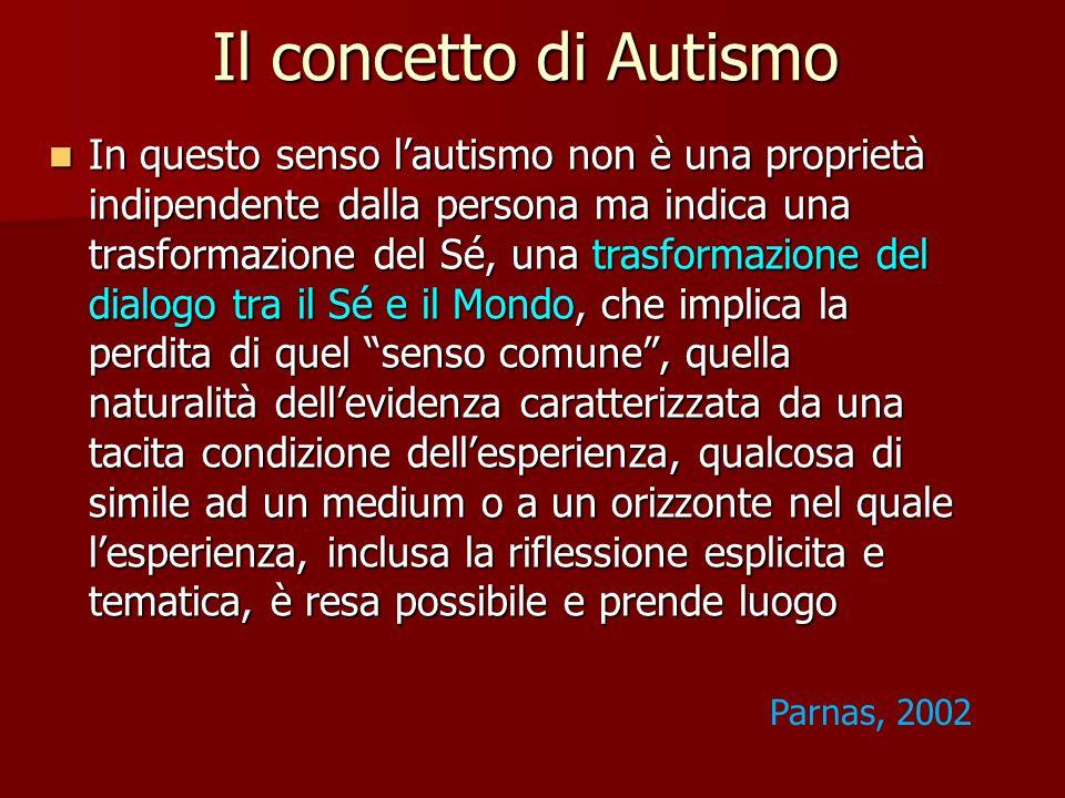 Il concetto di Autismo In questo senso l'autismo non è una proprietà indipendente dalla persona ma indica una trasformazione del Sé, una trasformazione del dialogo tra il Sé e il Mondo, che implica la perdita di quel senso comune , quella naturalità dell'evidenza caratterizzata da una tacita condizione dell'esperienza, qualcosa di simile ad un medium o a un orizzonte nel quale l'esperienza, inclusa la riflessione esplicita e tematica, è resa possibile e prende luogo In questo senso l'autismo non è una proprietà indipendente dalla persona ma indica una trasformazione del Sé, una trasformazione del dialogo tra il Sé e il Mondo, che implica la perdita di quel senso comune , quella naturalità dell'evidenza caratterizzata da una tacita condizione dell'esperienza, qualcosa di simile ad un medium o a un orizzonte nel quale l'esperienza, inclusa la riflessione esplicita e tematica, è resa possibile e prende luogo Parnas, 2002