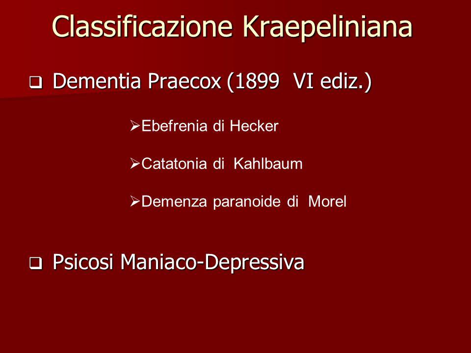Classificazione Kraepeliniana  Dementia Praecox (1899 VI ediz.)  Psicosi Maniaco-Depressiva  Ebefrenia di Hecker  Catatonia di Kahlbaum  Demenza paranoide di Morel