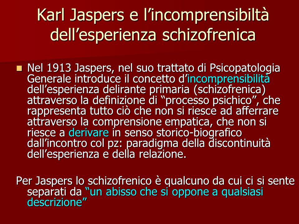 Karl Jaspers e l'incomprensibiltà dell'esperienza schizofrenica Nel 1913 Jaspers, nel suo trattato di Psicopatologia Generale introduce il concetto d'incomprensibilità dell'esperienza delirante primaria (schizofrenica) attraverso la definizione di processo psichico , che rappresenta tutto ciò che non si riesce ad afferrare attraverso la comprensione empatica, che non si riesce a derivare in senso storico-biografico dall'incontro col pz: paradigma della discontinuità dell'esperienza e della relazione.