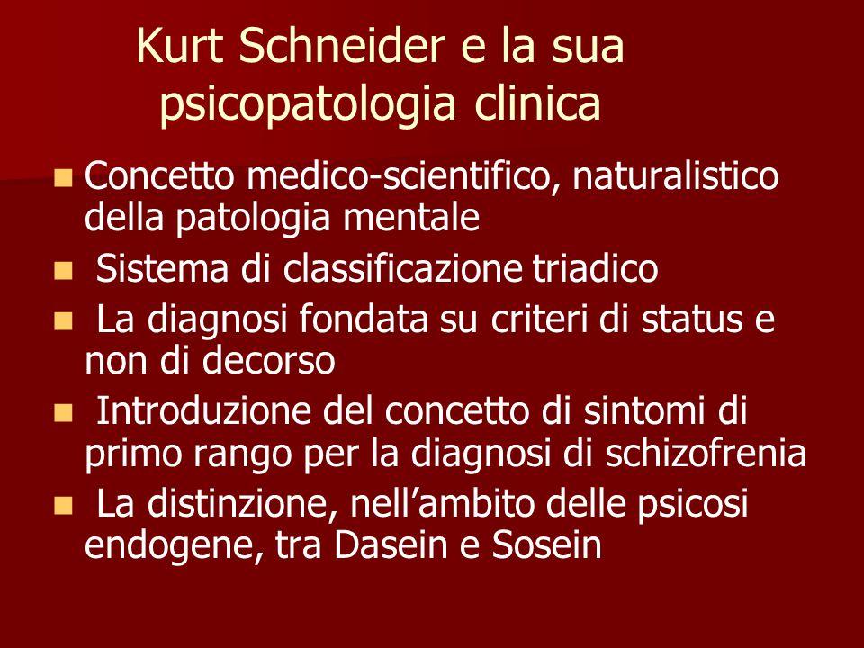 Kurt Schneider e la sua psicopatologia clinica Concetto medico-scientifico, naturalistico della patologia mentale Sistema di classificazione triadico La diagnosi fondata su criteri di status e non di decorso Introduzione del concetto di sintomi di primo rango per la diagnosi di schizofrenia La distinzione, nell'ambito delle psicosi endogene, tra Dasein e Sosein