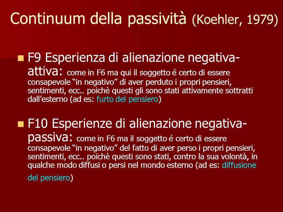 Continuum della passività (Koehler, 1979) F9 Esperienza di alienazione negativa- attiva: come in F6 ma qui il soggetto é certo di essere consapevole in negativo di aver perduto i propri pensieri, sentimenti, ecc..
