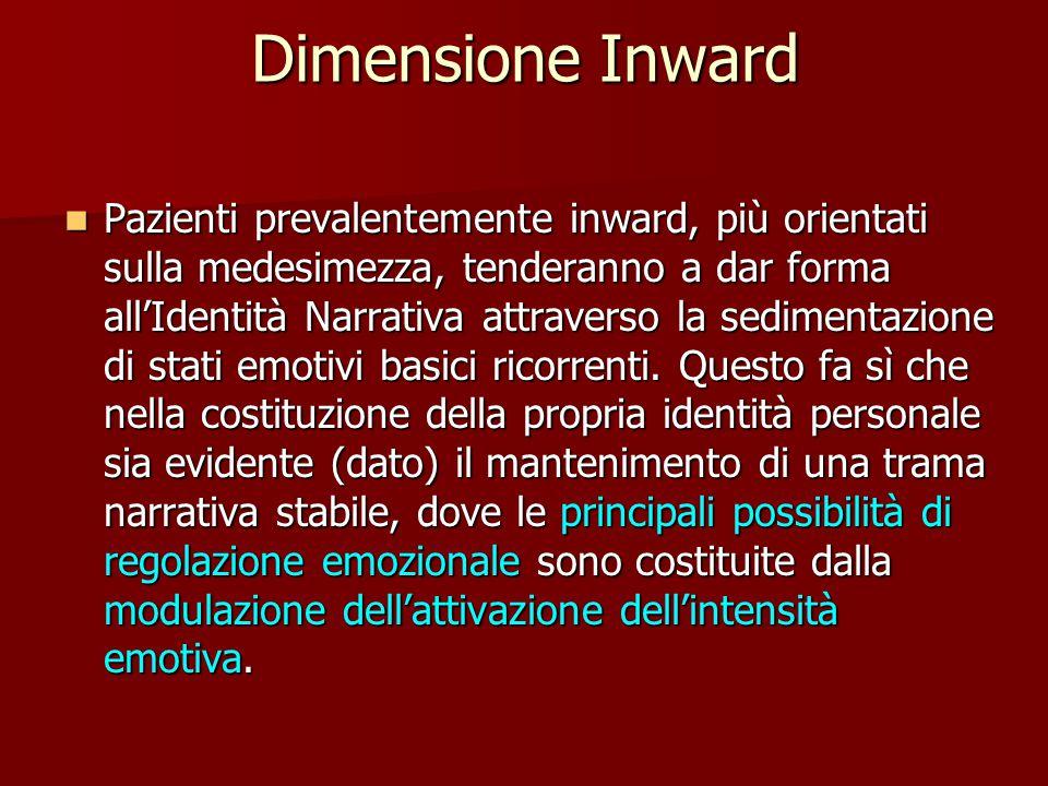 Dimensione Inward Pazienti prevalentemente inward, più orientati sulla medesimezza, tenderanno a dar forma all'Identità Narrativa attraverso la sedimentazione di stati emotivi basici ricorrenti.