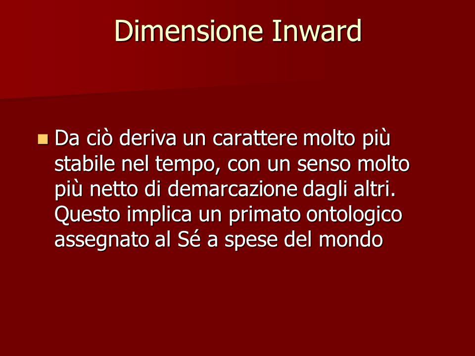 Dimensione Inward Da ciò deriva un carattere molto più stabile nel tempo, con un senso molto più netto di demarcazione dagli altri.