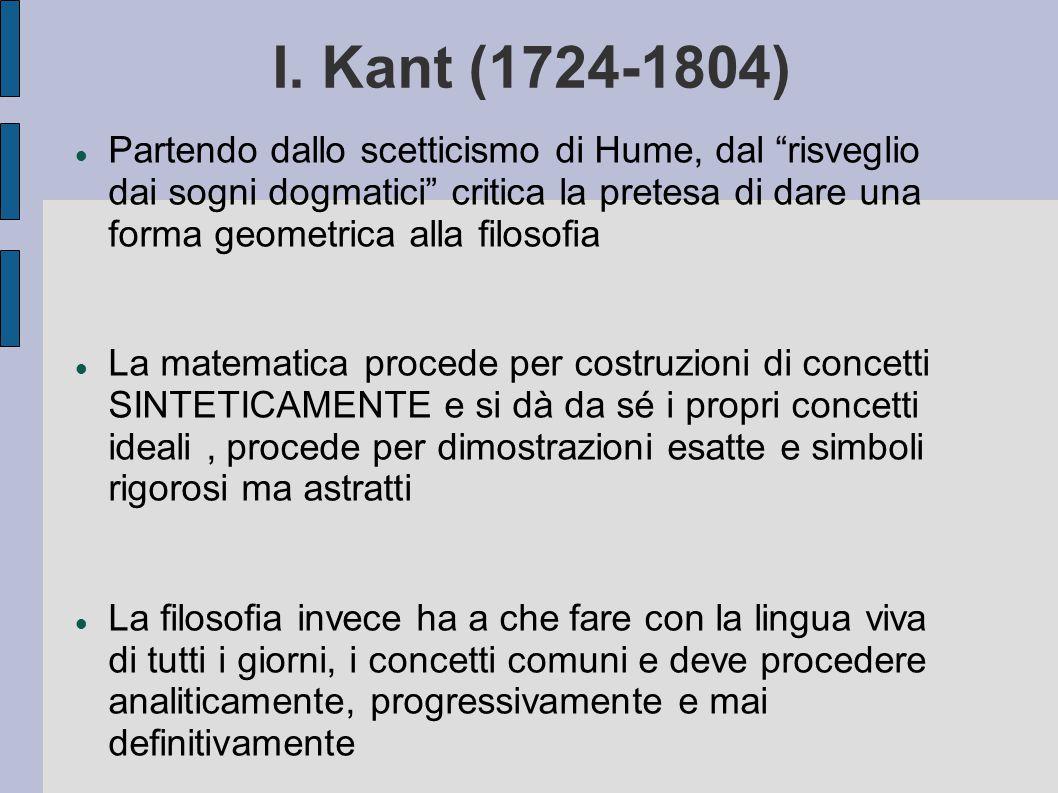 """I. Kant (1724-1804) Partendo dallo scetticismo di Hume, dal """"risveglio dai sogni dogmatici"""" critica la pretesa di dare una forma geometrica alla filos"""
