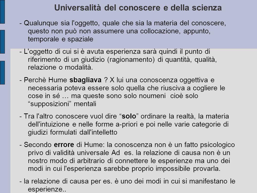 Universalità del conoscere e della scienza - Qualunque sia l'oggetto, quale che sia la materia del conoscere, questo non può non assumere una collocaz