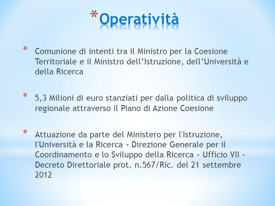 * Comunione di intenti tra il Ministro per la Coesione Territoriale e il Ministro dell'Istruzione, dell'Università e della Ricerca * 5,3 Milioni di eu