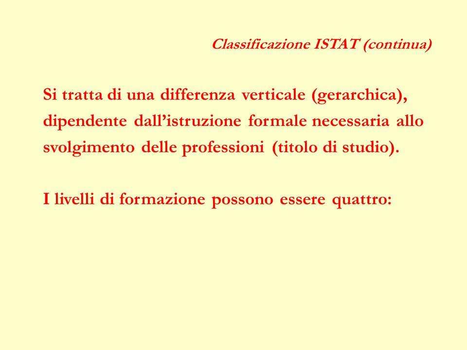 Classificazione ISTAT (continua) Si tratta di una differenza verticale (gerarchica), dipendente dall'istruzione formale necessaria allo svolgimento delle professioni (titolo di studio).