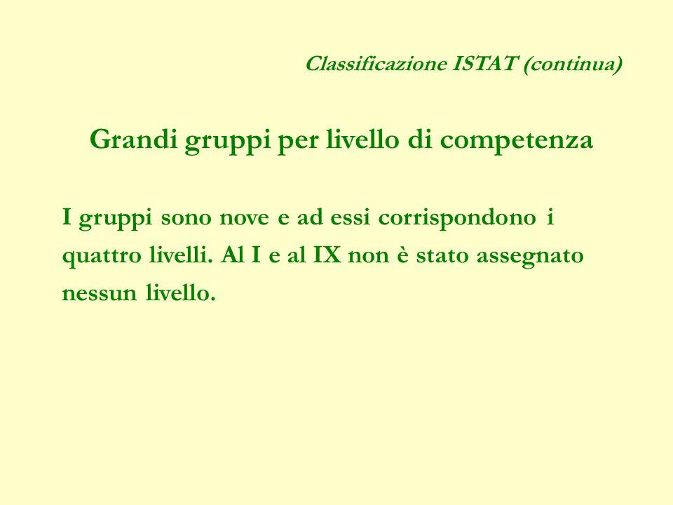 Classificazione ISTAT (continua) Grandi gruppi per livello di competenza I gruppi sono nove e ad essi corrispondono i quattro livelli.