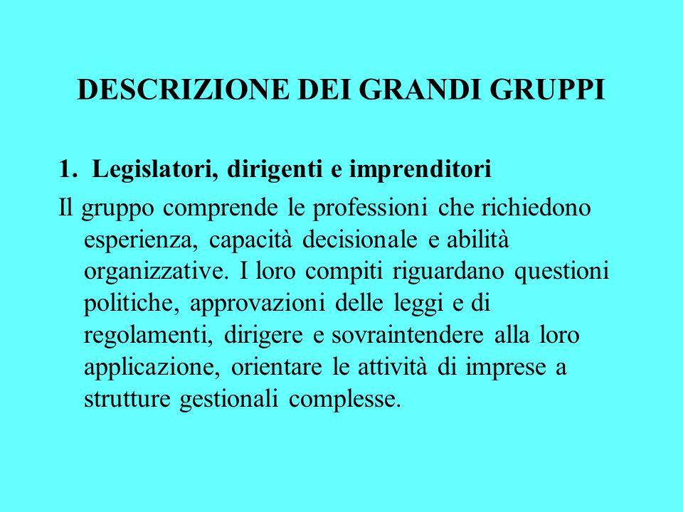 DESCRIZIONE DEI GRANDI GRUPPI 1.