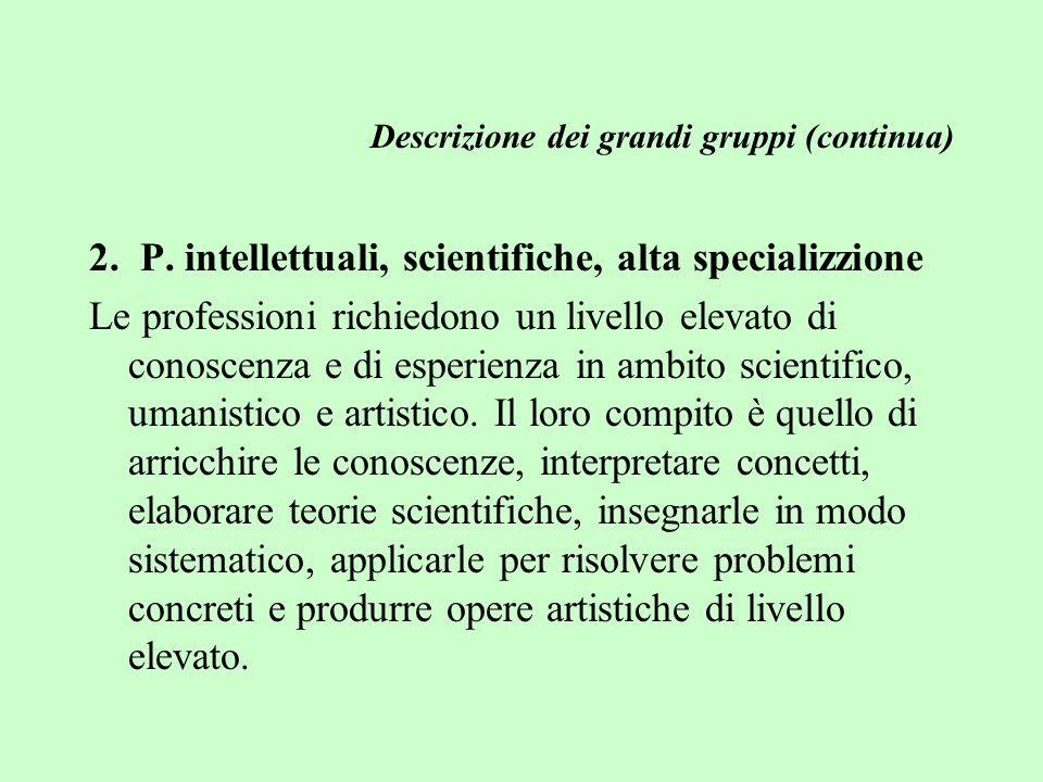Descrizione dei grandi gruppi (continua) 2. P.