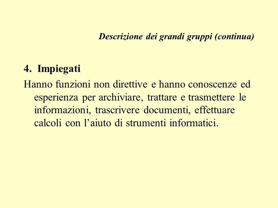 Descrizione dei grandi gruppi (continua) 4.