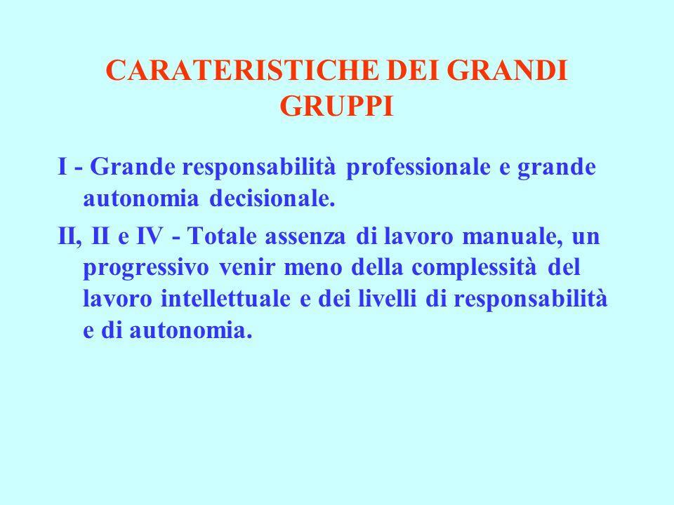 CARATERISTICHE DEI GRANDI GRUPPI I - Grande responsabilità professionale e grande autonomia decisionale.