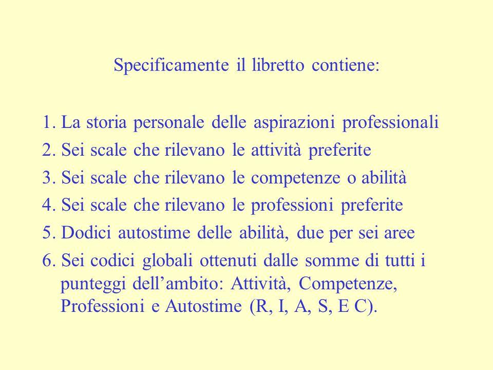 Specificamente il libretto contiene: 1. La storia personale delle aspirazioni professionali 2.