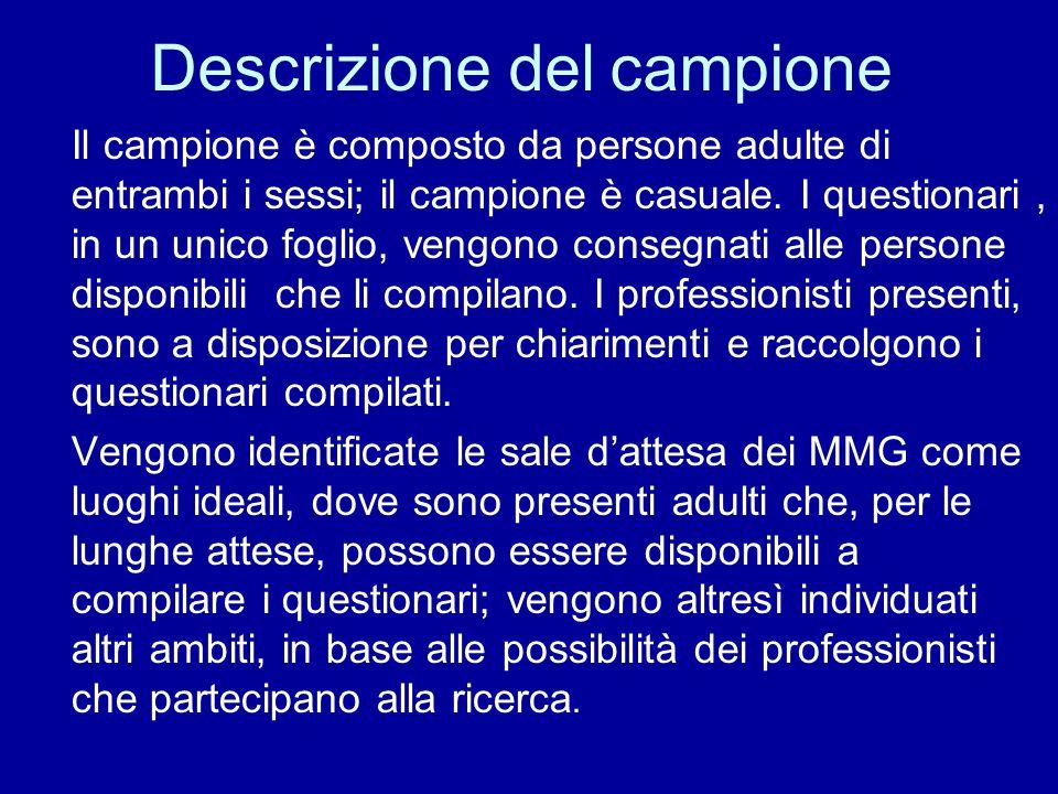 Il lavoro del gruppo Bellagamba, Bugni, Fanti, Gentilini, Giulianelli, Mosconi, raccolgono i questionari; Battani tabula tutti i questionari raccolti; Righini analizza e incrocia i dati.