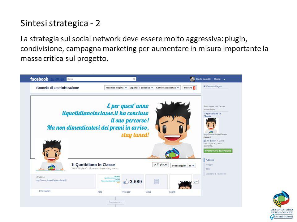 Sintesi strategica - 2 La strategia sui social network deve essere molto aggressiva: plugin, condivisione, campagna marketing per aumentare in misura importante la massa critica sul progetto.