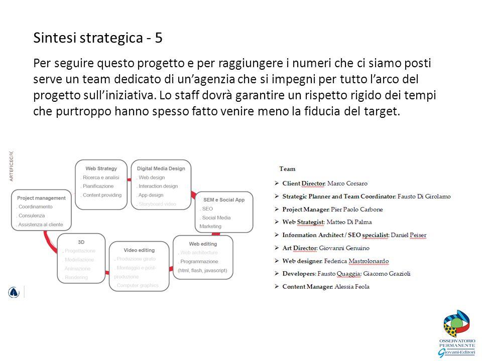 Sintesi strategica - 5 Per seguire questo progetto e per raggiungere i numeri che ci siamo posti serve un team dedicato di un'agenzia che si impegni per tutto l'arco del progetto sull'iniziativa.
