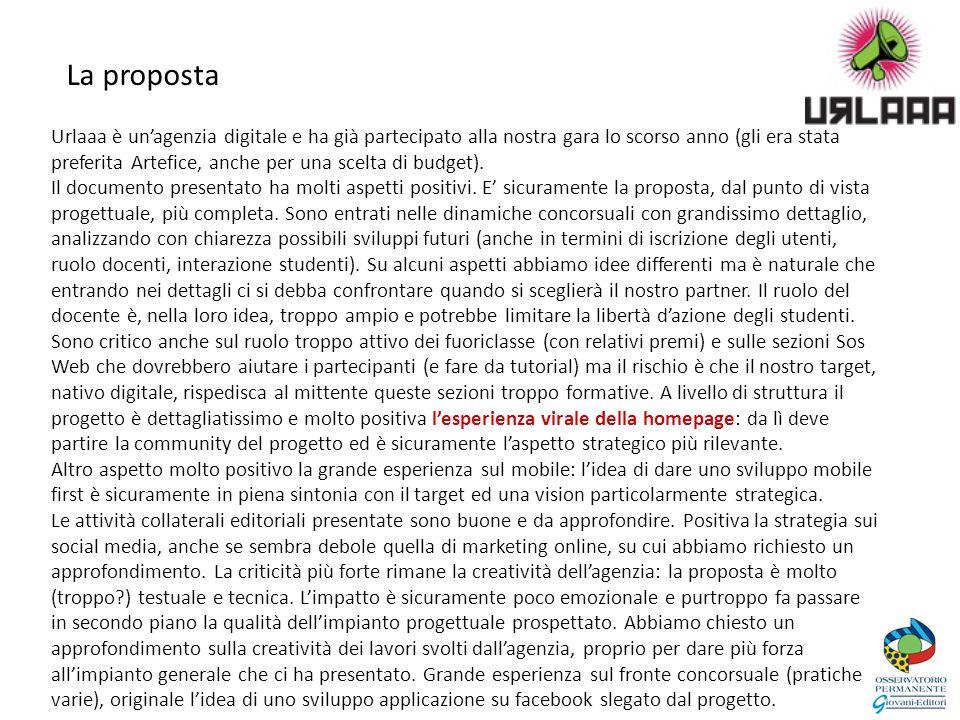 La proposta Urlaaa è un'agenzia digitale e ha già partecipato alla nostra gara lo scorso anno (gli era stata preferita Artefice, anche per una scelta di budget).