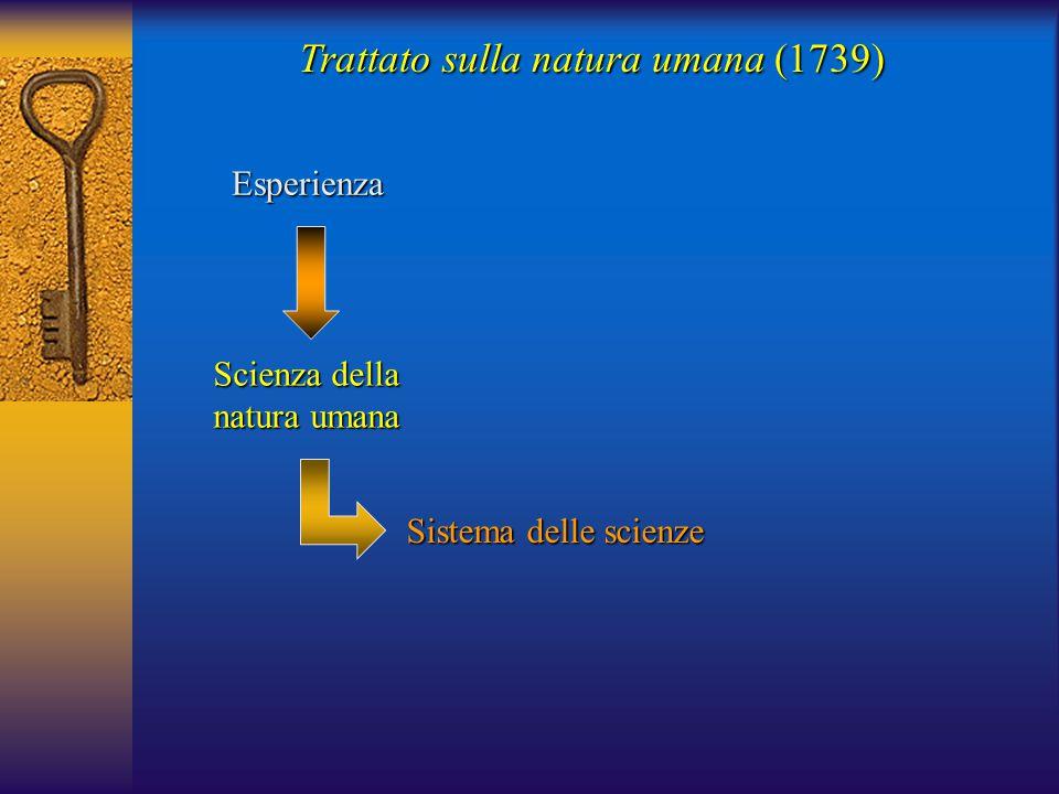 Trattato sulla natura umana (1739) Esperienza Scienza della natura umana Sistema delle scienze
