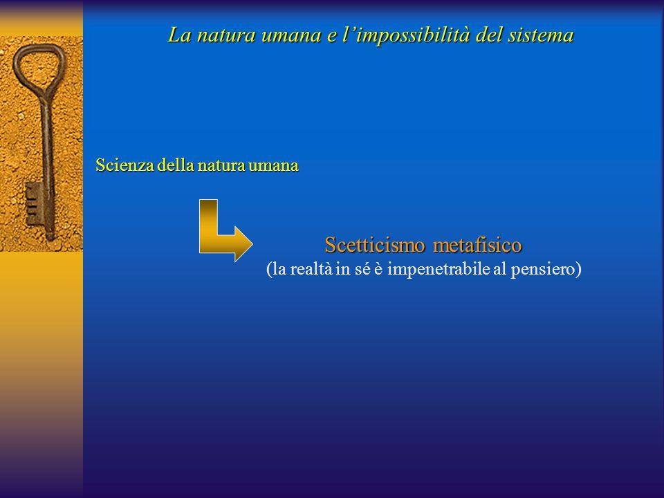 La natura umana e l'impossibilità del sistema Scienza della natura umana Scetticismo metafisico (la realtà in sé è impenetrabile al pensiero)