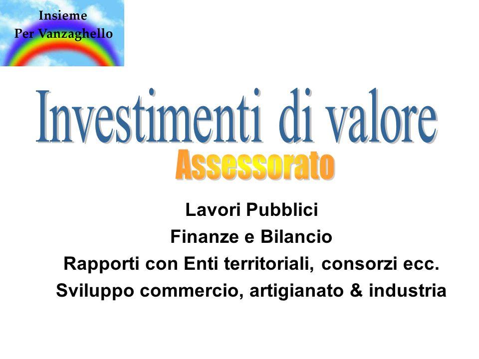 Lavori Pubblici Finanze e Bilancio Rapporti con Enti territoriali, consorzi ecc.