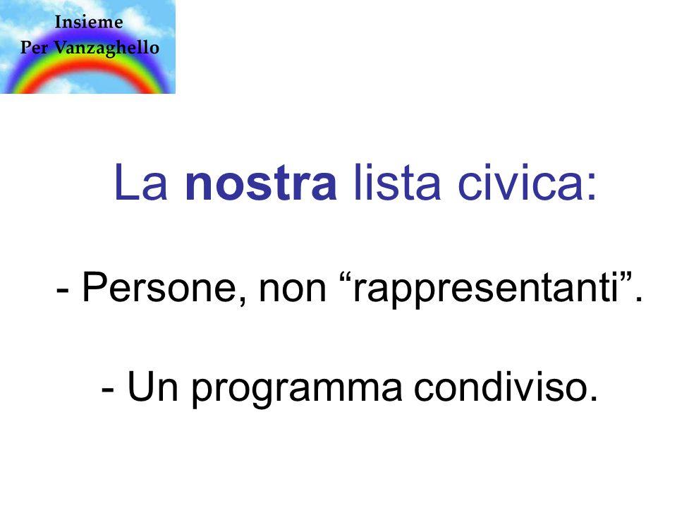 La nostra lista civica: - Persone, non rappresentanti . - Un programma condiviso.