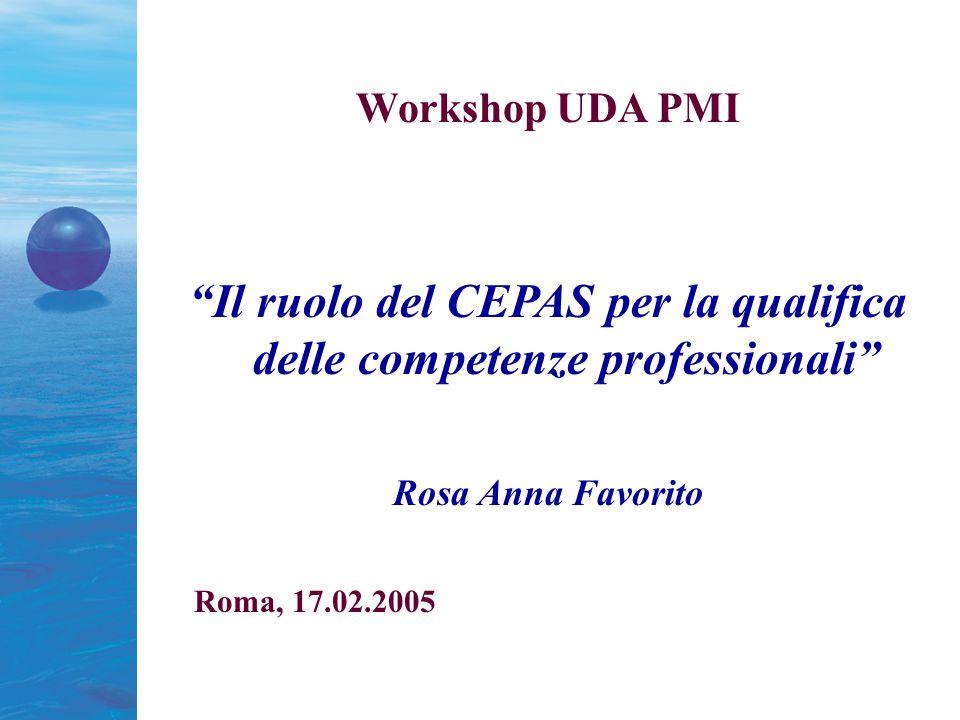 Workshop UDA PMI Il ruolo del CEPAS per la qualifica delle competenze professionali Rosa Anna Favorito Roma, 17.02.2005
