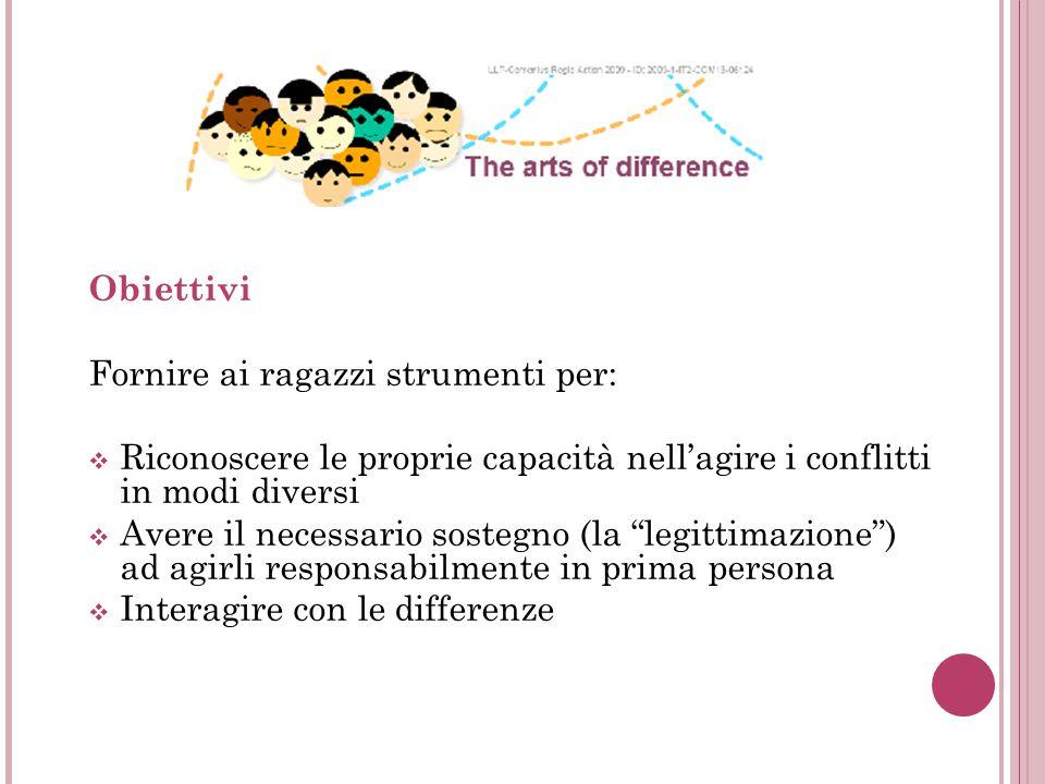 Obiettivi Fornire ai ragazzi strumenti per:  Riconoscere le proprie capacità nell'agire i conflitti in modi diversi  Avere il necessario sostegno (la legittimazione ) ad agirli responsabilmente in prima persona  Interagire con le differenze