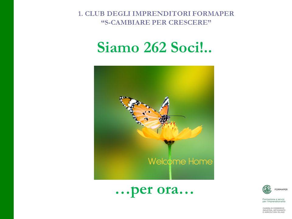 1. CLUB DEGLI IMPRENDITORI FORMAPER S-CAMBIARE PER CRESCERE Siamo 262 Soci!.. …per ora…