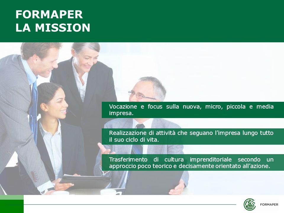 FORMAPER LA MISSION Vocazione e focus sulla nuova, micro, piccola e media impresa.