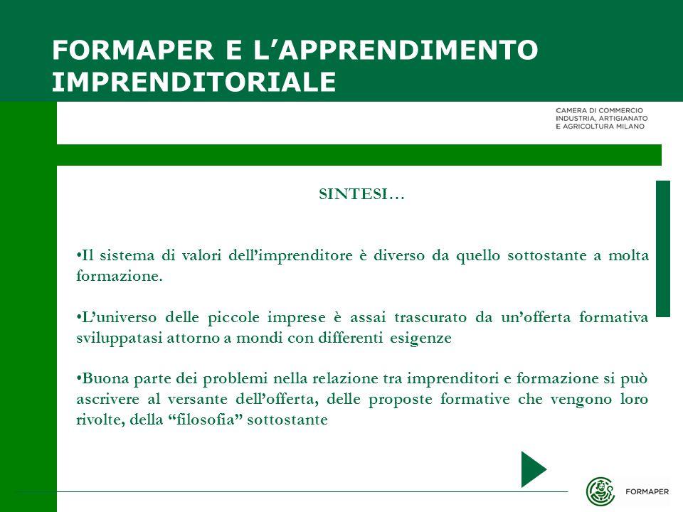 SINTESI… Il sistema di valori dell'imprenditore è diverso da quello sottostante a molta formazione.